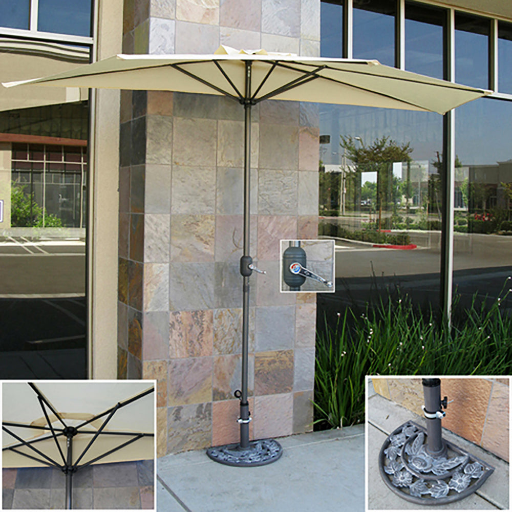 10ft Half Patio Umbrella W/ Umbrella Stand   Beige