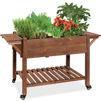 BCP Mobile Raised Garden Bed Elevated Wood Garden Planter Stand