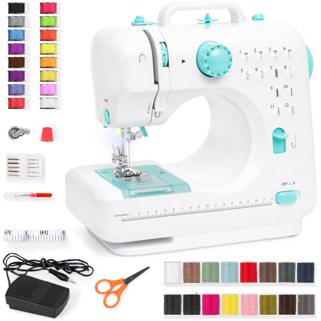 6V Portable Foot Pedal Sewing Machine w/ 12 Stitch Patterns