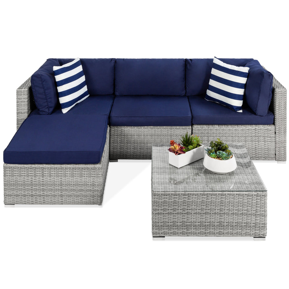 5-Piece Modular Wicker Sectional Conversation Set w/ 2 Pillows, Coffee Table