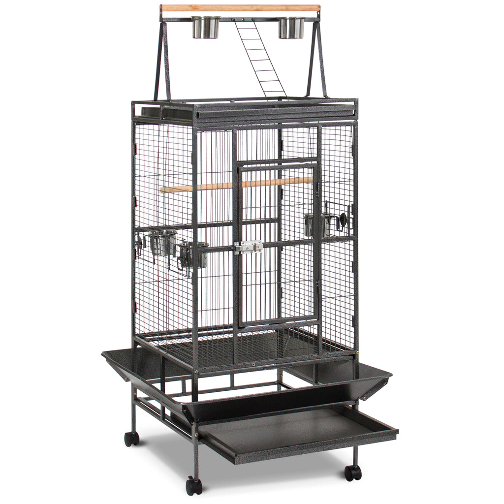 68in Bird Cage w/ Long Wooden Perch, Play Area, and Rolling Wheels - Black