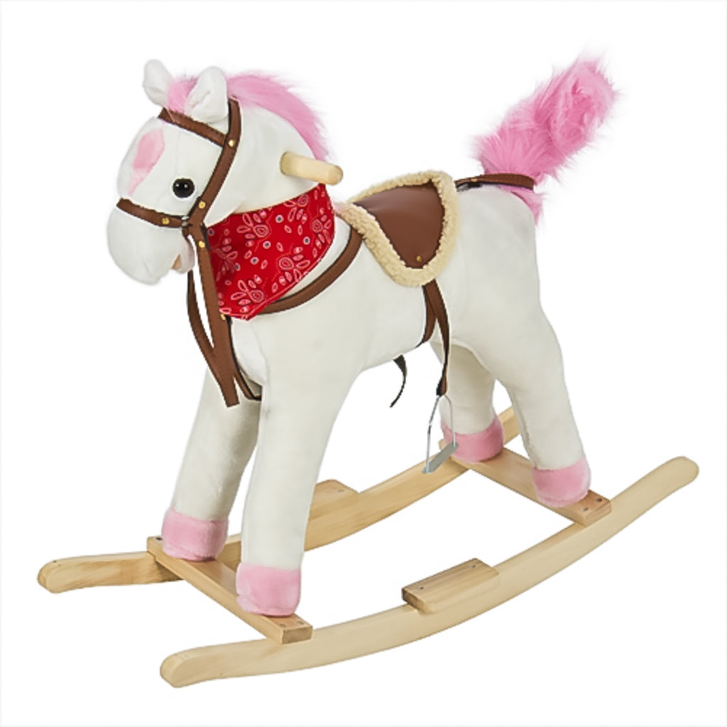 Kids Rocking Horse w/ Sounds, Saddle, Metal Stirrups, Bandanna - White
