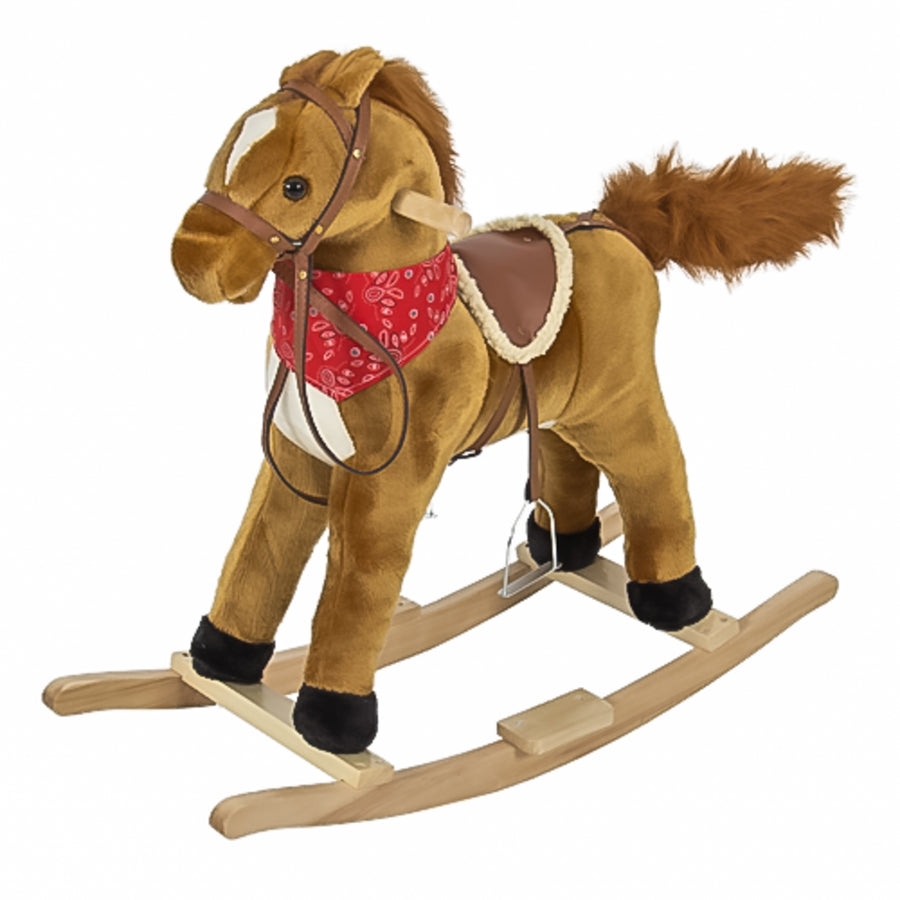 Kids Plush Rocking Horse Toy w/ Saddle, Metal Stirrups, Sounds - Brown