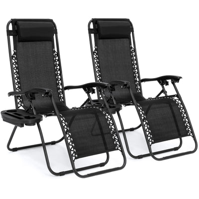 Zero Gravity Chairs Case Of (2) Black Lounge Patio Chairs Utility Pool Tray Cup Holders