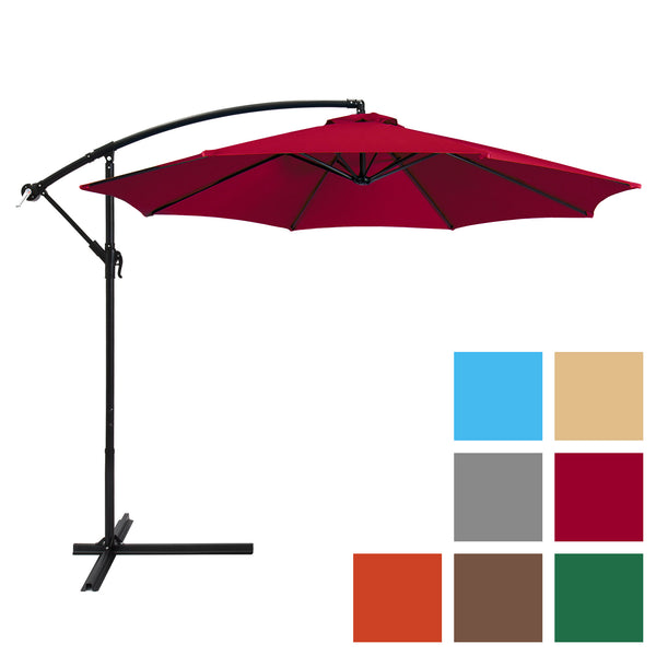 Best Choice Products Patio Umbrella Offset 10' Hanging Umbrella Outdoor Market Umbrella New - Multiple Colors