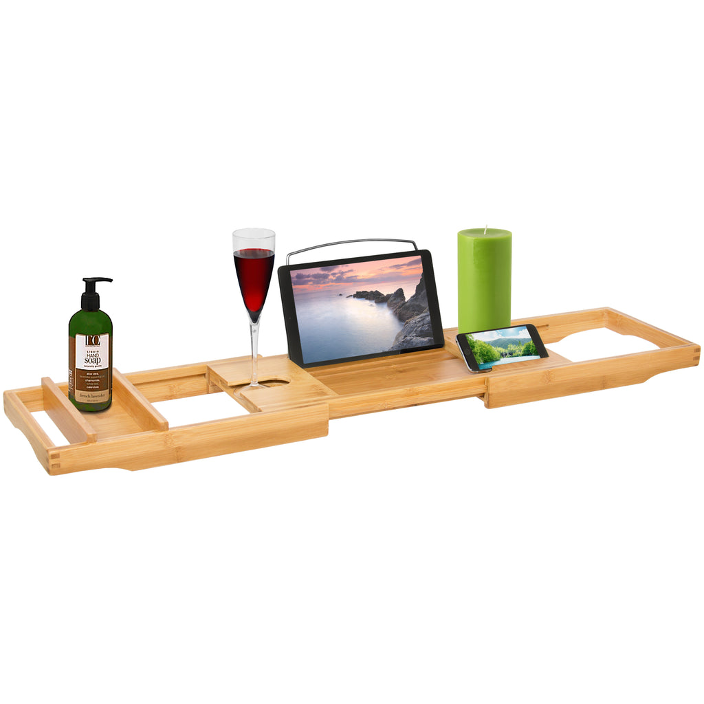 Bamboo Bathtub Caddy Shower Tray w/ Adjustable Length