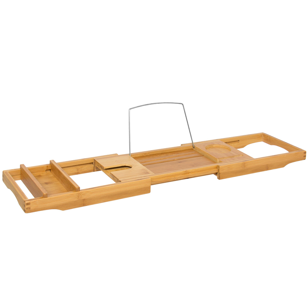 Bamboo Bathtub Caddy Shower Tray w/ Adjustable Length – Best Choice ...
