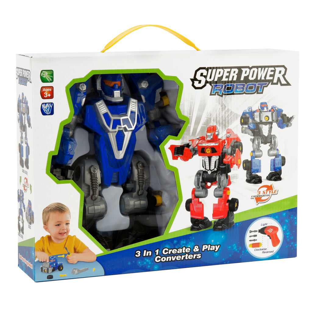 Kids Assembly Take-A-Part Toy Transformer Robot Play Set W/ Toy Drill, Parts