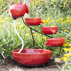 Best Choice Products Ceramic Solar Water Fountain Garden Zen Free Standing Weather Proof Red