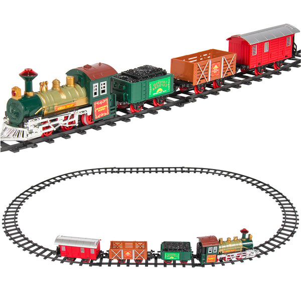 Kids Electric Railway Train Track Toy Playset w/ Music, Lights