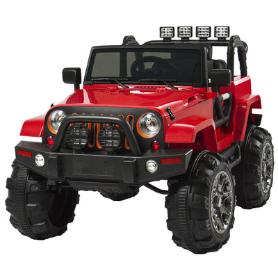 Best Choice Products 12V Ride On Car Truck W/ Remote Control, 3 Speeds, Spring Suspension, LED Lights, Red
