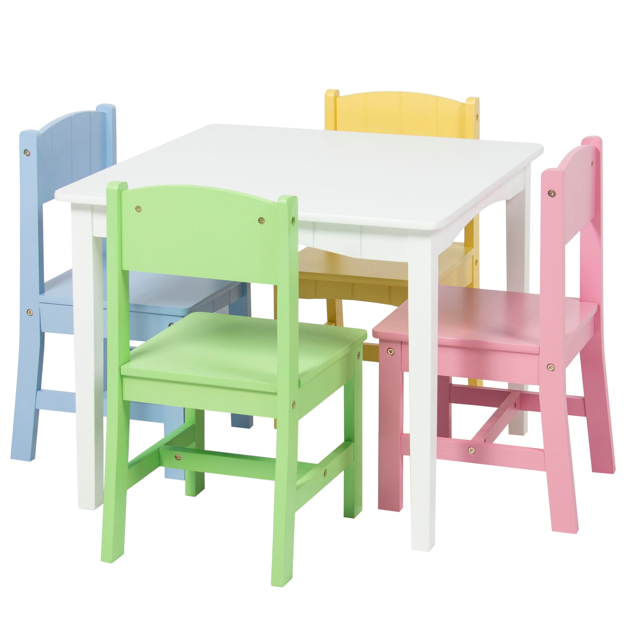 Kids Wooden Table Set W/ 4 Chairs   Pastel/Multicolor