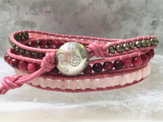 Rose Quartz Leather Wrap -  Pink Coral - Pink Triple Leather Wrap -Pink  Gemstone Bracelet - Girlfriend's Gift - Women's Jewelry