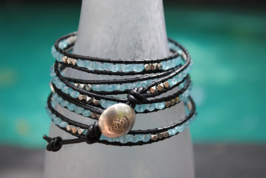 Black Leather Five Wrap Bracelet with Apatite Beads, Silver Nuggets and Silver Lotus Button, 32-34