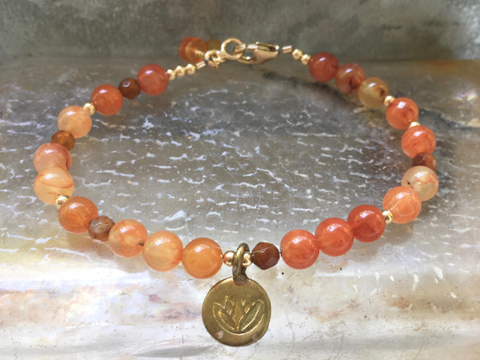 Firefly, Carnelian Beaded Bracelet Lotus Charm Bracelet Girlfriends Gift Mother's Day Gift
