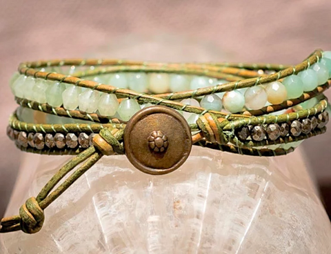 Amazonite Beaded Leather Bracelet -Triple Wrap Beaded Bracelet - Jade -Pyrite - Girlfriend's Gift - Women's Jewelry - Men's Jewelry