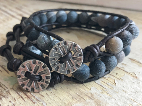 Fire Crackle Agate Bracelet  Men's Beaded Bracelet, Black Agate Wrap Bracelet Mens Leather Wrap Boyfriend Gift Men's Gift His and Hers