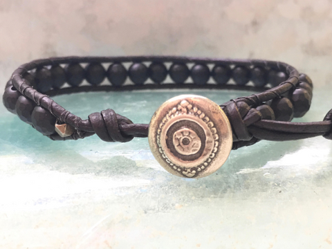 Matt Black Agate Bracelet Men's Black Bracelet Men's Leather Wrap Black Beaded Leather Wrap Black Agate Leather Wrap Boyfriend Gift Husband