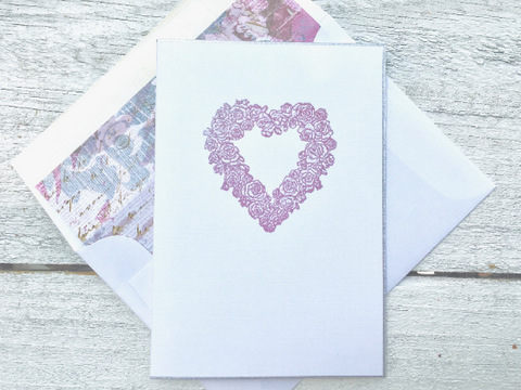 Mother's Day Note Card, Heart Note Cards, Greeting Card, Wedding Note Card, Thank You Card, Set of 8