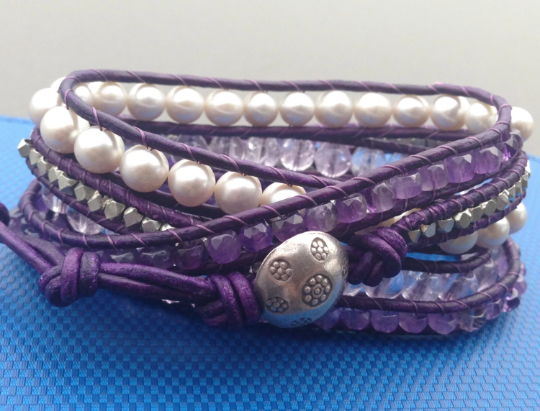 Wrap Bracelet - Handmade with Distressed Eggplant Leather Bracelet with Grey Pearls and Silver button, Special Requests Welcome