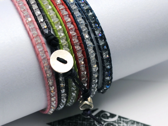 Mini Crystal Leather Wrap Bracelets,  Mood Beads, Silver Button, Special Requests Welcome