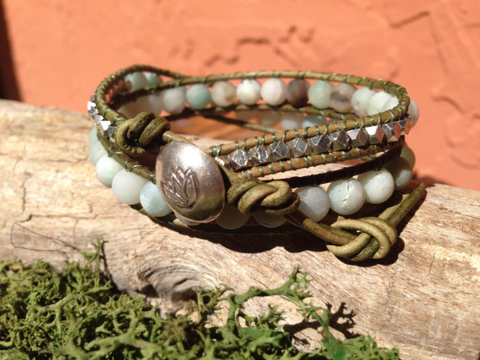 Double Wrap Amazonite Bracelet, Hill Tribe Silver Button, Silver Plated Nuggets, Gifts for Her, Bridesmaid Gifts, Special Requests Welcome