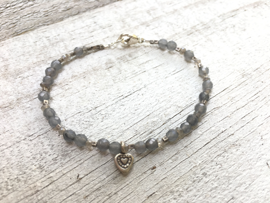 First Kiss, Labradorite Beaded Bracelet and Karen Hill Tribe Silver Charm Girlfriend Gift Mother's Day Gift