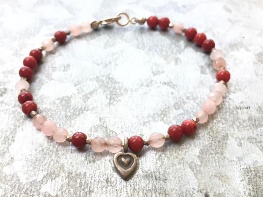 Goddess of Love, Pink Quartz and Red Jade Heart Bracelet Women's Jewelry Mothers Day Gift