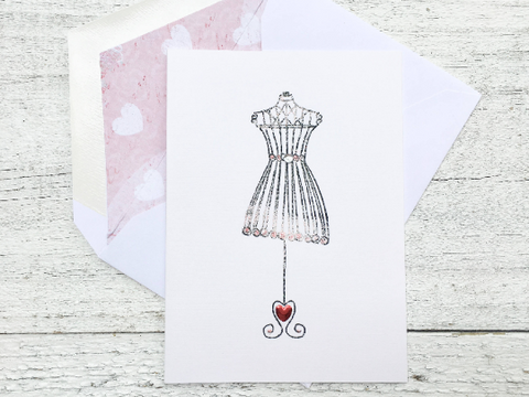 Fashion Note Cards, Fashion Stationery, Chic Note Cards, Dress Form Cards, Bridal Note Cards, Vintage Note Cards, Girls Night Out, Set of 8