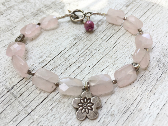 First Blush, Pink Jade Bead Wire Bracelet  Karen Hill Tribe Flower Charm Mother's Day Gift