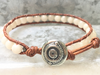 Coral Wrap Bracelet Coral Beaded Bracelet Sea Lover Bracelet Beaded Bracelet Coral Leather Wrap Girlfriend Gift Women's Jewelry