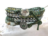 Forest's First Snow Fall,  Leather Triple Beaded Wrap Vassonite Pearls African Turquoise Mother's Day Gift Girlfriend Gift