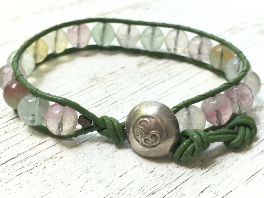 Rainbow Fluorite Beaded Leather Wrap Bracelet - Green Leather Wrap - Beaded Bracelet - Green Bracelet -Girlfriend's Gift - Women's Jewelry