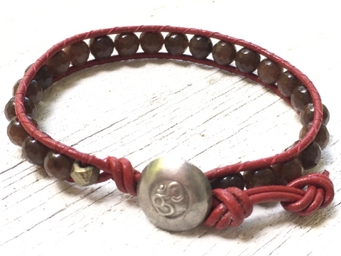 Leather Wrap Bracelet Agate Bracelet Brown Agate Leather Wrap Agate Beaded Bracelet Girlfriend Gift  Women's Jewelry Hill Tribe Om Button
