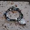 Black Leather Wrap Bracelet, Anklet or Choker with Silver Heart Charm, Special Requests Welcome
