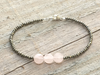 Delicate Bracelet Pyrite Bracelet Silver and Pink Bracelet Rose Quartz and Pyrite Bracelet Stacked Bracelet Beaded Bracelet