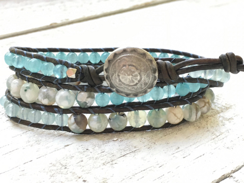 Blue Agate Beaded Bracelet - Triple Wrap Leather Bracelet - Agate Bracelet - Apatite - Girlfriend's Gift - Women's Jewelry - Men's Jewelry