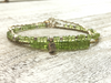 Peridot Beaded Bracelet - Karen Hill Tribe Silver Charm and Nuggets - August Birthstone - Girlfriend's Gift - Women's Jewelry