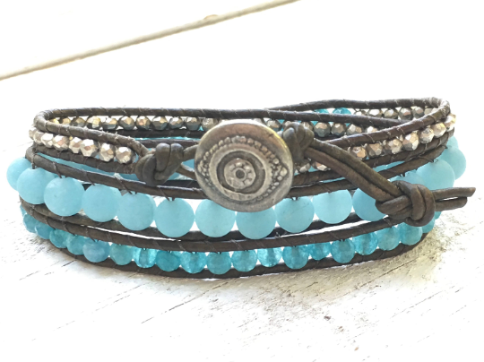 Azure Islands, Triple Leather Wrap Blue Beaded Bracelet Agate Pyrite Beaded Leather Bracelet Girlfriend Gift Women's Jewelry