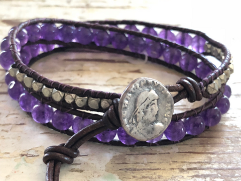 Amethyst Bracelet Leather Bracelet Amethyst Wrap Bracelet Double Wrap Bracelet February Birth Stone Mothers Day Gift Girlfriend Gift