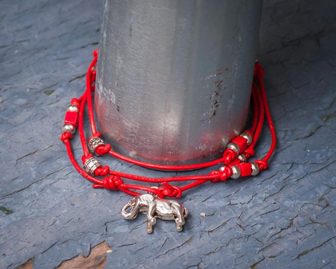 Handmade Red Wrap Bracelet, Choker or Anklet with a Silver Elephant Charm and Clear Beads on Red Leather, Special Requests Welcome