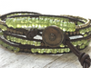 Peridot Triple Wrap Bracelet  - Peridot Bracelet - Green Bracelet - Leather Wrap - Girlfriend's Gift - Women's Gift - August Birthstone
