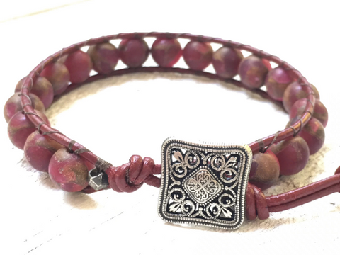 Red Agate Bracelet -  Pink Agate Leather Bracelet -  Agate Beaded Wrap Bracelet -  Girlfriend's Gift -  Women's Jewelry - Men's Jewelry