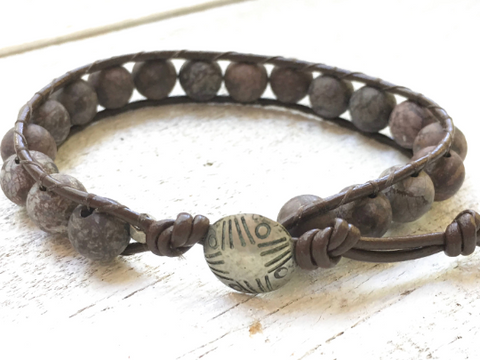 Matte Jasper Leather Wrap Matte Jasper Bracelet Matte Jasper Beaded Bracelet Leather Wrap Girlfriend Gift Women's Jewelry Men's Jewelry