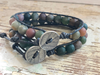 Jasper Leather Wrap Bracelet, Unpolished Jasper Bracelet, His and Hers Bracelets, Leather Bracelet, Handmade, Gifts for Him, Boho Bracelet