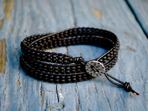 Handmade Three Wrap Bracelet with Black Seed Beads and a Pewter Tribal Button on Black Leather,  20-22