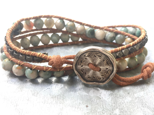 Desert Sky, Agate Double  Wrap Leather Bracelet Blue Agate Sea Green Agate  Beaded Bracelet Girlfriend Gift Mother's Day Gift