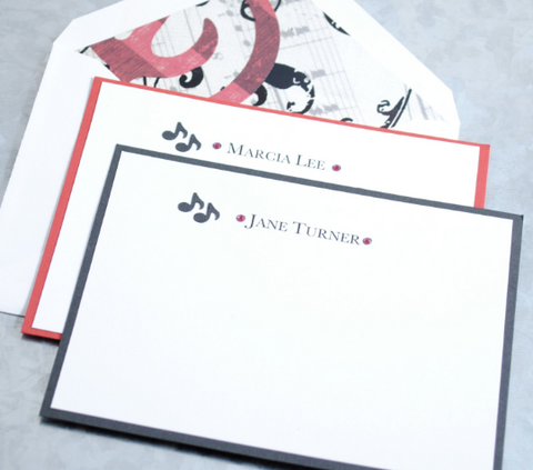 Handmade Personalized Musical Notes Notecards, Box Set of 8