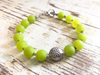 Jade Bracelet, Bright Green Bracelet with Floral Charm, Charm, Beaded Bracelet, Semiprecious Stone Bracelet, Girlfriend Gift, Women's Gift