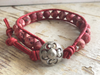 Coral Bracelet Leather Wrap Bracelet with Unpolished Coral Beads Pink Bracelet Boho Bracelet Ocean Lover Bracelet Girlfriend Gift Jewelry